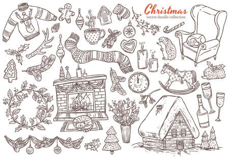 Vector Merry Christmas and Happy New Year linear doodle set with sketch festive elements, icons and symbol. Holiday colliction of illustrations for greeting card design