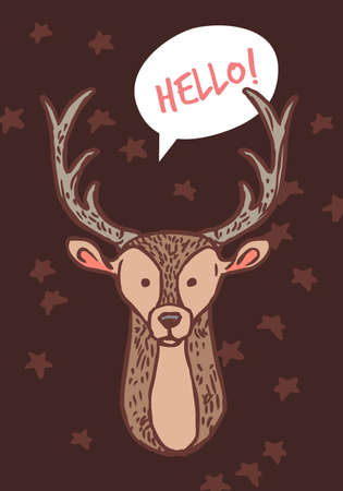 Vector cute baby deer. Doodle freehand illustration for christmas and new year greeting card, poster, banner or tag Banco de Imagens - 157352497