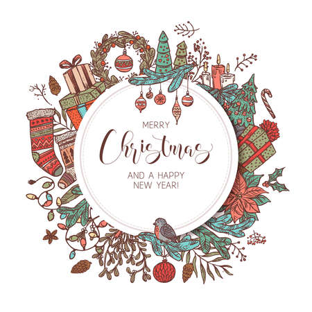 Round Merry Christmas and Happy New Year banner, label or emblem with cute drawing festive elements and decorations. Sketch holiday vector background and illustration Banco de Imagens - 157576264