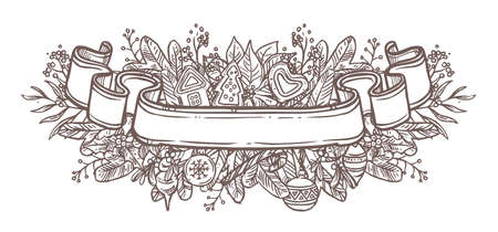 Vector Christmas monochrome doodle ribbon. Banner with empty place for text with festive décor fir branches, balls, gingerbread, plants. Hand drawn sketch illustration for web. Holiday emblem or label Ilustração