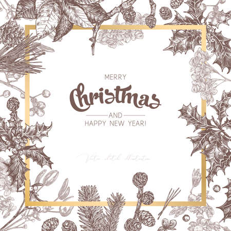 Background or banner made with christmas festive plants, branches of fir, larch, spruce, poinsettia, holly berry, mistletoe, cones. Holiday hand drawn botanical frame with greeting or invitation Stock Illustratie