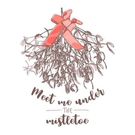 Meet me under the mistletor quote greeting card with vector sketch hand drawn branches with foliage and berries with red bow. Christmas evergreen floral decoration. Engraved etching botanical illustration Stock Illustratie