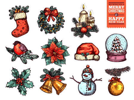 Christmas and happy New Year collection of sketch vector icons. Festive and holiday hand drawn colorful elements: sock with gifts and fir wreath, bullwinch on branch, poinsettia star and holly, santa hat and snowglobe, golden bells and tree toy, snowman Stock Illustratie