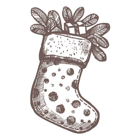 Christmas Card With Sketch Christmas Sock With Fir Branches and Gifts