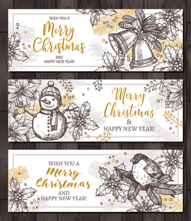 Christmas happy holiday horizontal banners for web. Design for greeting cards with vector hand drawn sketch illustartion