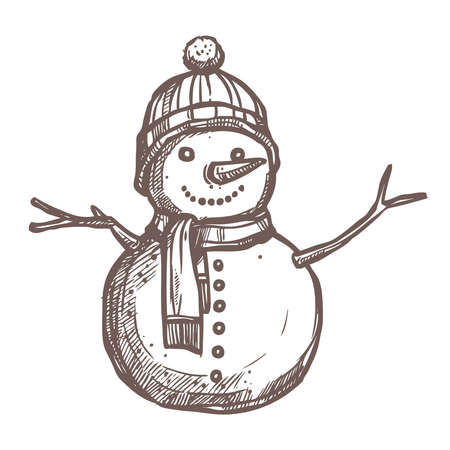 Christmas Card With Sketch Snowman Stock Illustratie