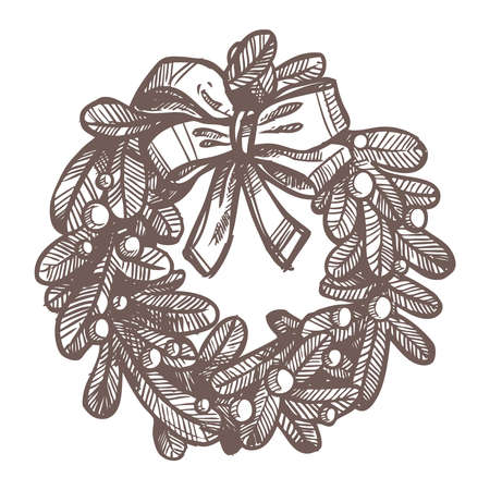 Christmas Card With Sketch Wreath Stock Illustratie