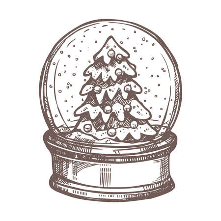 Christmas Card With Snowglobe In Sketch Style Stock Illustratie