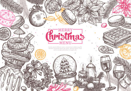 Merry Christmas happy holiday sketch background for dinner menu in restaurant and cafe. Horizontal festive vector illustration with hand drawn and engraving fir, wreath, beverages and desserts