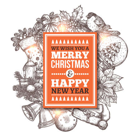 Merry Christmas greeting card with festive and holiday hand drawn icons. Sketch vector illustration