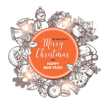 Merry Christmas greeting card with festive and holiday hand drawn element on background. Xmas circle label or banner. Sketch vector illustration