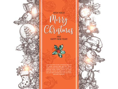 Merry Christmas and Happy New Year sketch greeting card, poster or background. Vector hand drawn monochrome festive and holiday garland with xmas elemets