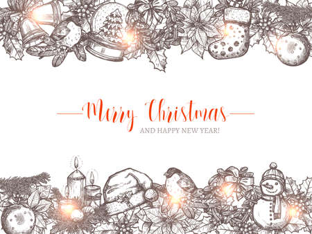 Merry Christmas holiday vector background with festive sketch garlands and borders. Happy New Year hand drawn greeting illustration Stock Illustratie