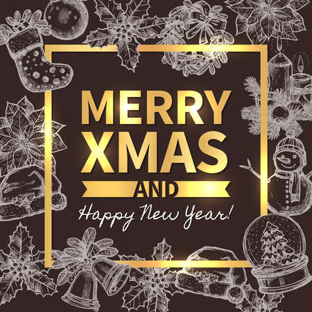 Merry Christmas trendy greeting vector card, poster or background with typography and sketch xmas festive elements on blackboard