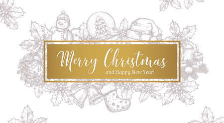Merry Christmas trendy greeting horizontal vector card, poster or background with label and sketch xmas festive elements Stock Illustratie