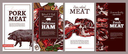 Collection of cards, posters, labels or tags for meat farm natural products. Templates with jamon, ham, fresh pork and pig. Trendy design with sketch illustrations