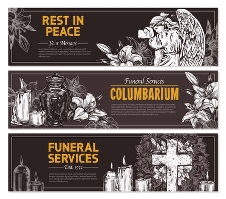 Funeral service vector hand drawn design of horizontal banners. Sketch illustration for condolence card and advertising of columbarium and cemetry with urn for ashes, vintage tombstone angel, wreath, cross with white lilies