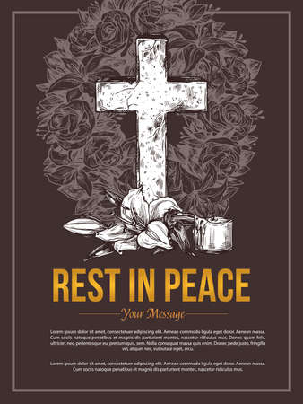 Funeral service vector hand drawn design of banners or rip massage card. Sketch illustration for condolence card with stone cross, white lily, flower mortuary wreath and extinct candle