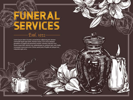 Funeral service vector hand drawn design of poster. Sketch illustration for condolence card and advertising of columbarium and cemetry with urn for ashes, flowers, candels and white lilies