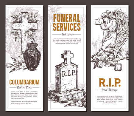 Funeral service vector hand drawn design of banners. Sketch illustration for condolence card and advertising of columbarium and cemetry with urn for ashes, vintage tombstone angel, wreath, cross with white lilies. Rip massage card