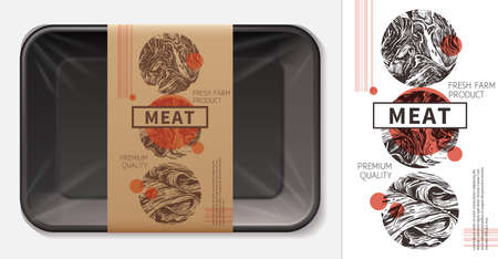 Modern design of meat food label layout. 3d realistic foam tray with craft paper tag mockup. Sketch hand drawn illustration for butcher, pork, ham, beef, fillet, jamon. Farm natural product 矢量图像
