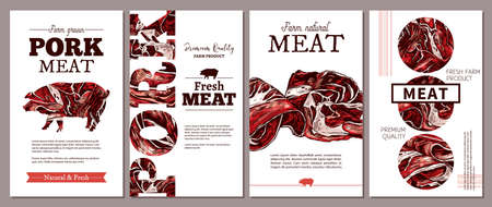 Layouts of cards, posters, labels or tags for meat farm natural products. Templates with jamon, ham, fresh pork. Trendy design with sketch illustrations