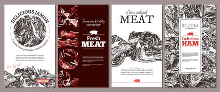 Natural farm meat design of cards, posters, labels or tags. Templates with hand drawn jamon, ham, pork. Layouts with sketch illustrations