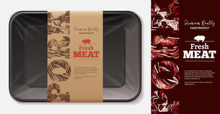 Package design for farm fresh meat food, pork, ham, fillet with stylish typography on craft paper label or tag. Plastic foam butcher container realistic vector mockup