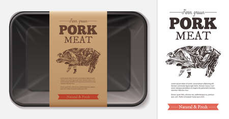 Package design for farm fresh meat food, pork, ham, fillet with typography and sketch hand drawn pig silhouette on craft paper label or tag. Plastic foam butcher container realistic vector mockup