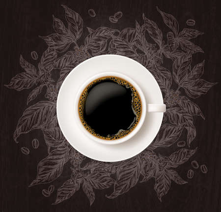 Top view of cup of coffee with sketch coffee tree branches on chalkboard background. Vector illustration with hand drawn and realistic mug Ilustração