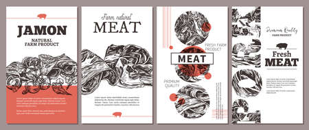 Trendy modern design for meat farm natural products - cards, posters, labels or tags. Templates with jamon, ham, pork. Layouts with hand drawn sketch illustrations