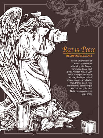Rip massage card with vintage stone angel with cross. Hand drawn sketch illustration for condolence card and advertising of columbarium and cemetry. Funeral servica poster