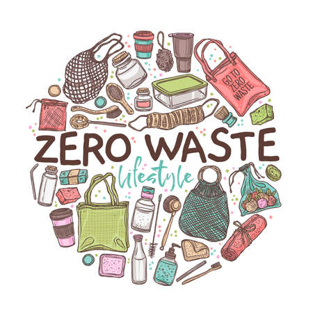 Zero waste lifestyle, emblem or lable in circle form. Ecological, recycle and reused collection of isolated objects for home, shopping and cosmetics. Linear hand drawn doodle. Hand drawn sketch Ilustração