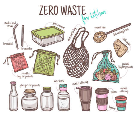 Vector set of durable items and products for zero waste home and kitchen. Ecological lifestyle collection glass jars and bottle, mesh cloth bag, coffee thermo mug. Linear hand drawn doodle