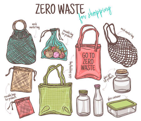 Zero waste shopping. Ecological lifestyle and set of eco cloth and mesh bags and glass jars, bottle and container for grocery and products. Doodle linear icons. Hand drawn cute sketch illustration Ilustração