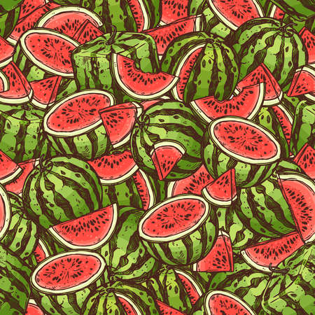Seamless watermelon bright summer pattern. Vector doodle linear background with illustrations of fruits Ilustração