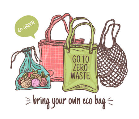 Bring your own eco cloth bag vector illustration. Zero waste shopping set. Eco and go green lifestyle. Doodle linear hand drawn sketch of reusable and mesh market bags