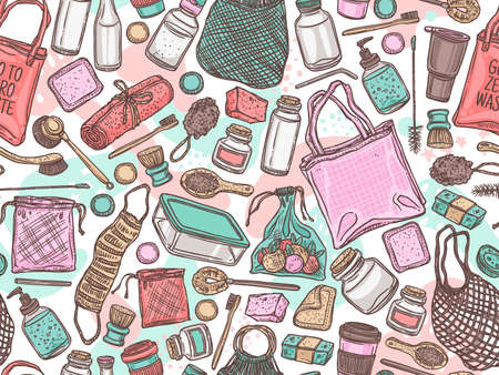 Vector semless pattern of durable items and products for zero waste lifestyle. Ecological, recycle and reused collection of isolated objects for home, shopping and cosmetics. Linear hand drawn doodle Ilustração