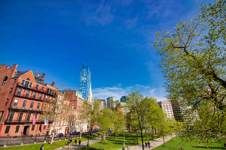 Beautiful spring day at Boston Common Park Massachusetts