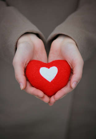 Red heart in girl s hands photo