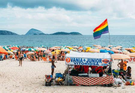 LGBT section of beach in Ipanema, Rio de Janeiro, Brazil Editorial