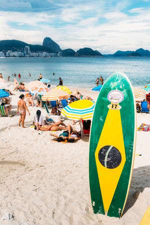 Long board with Brazilian flag