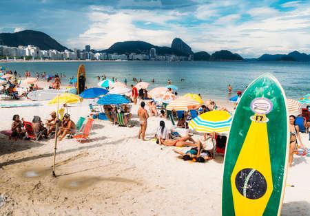 브라질 국기가있는 긴 보드