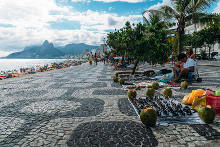 Street market on Ipanema Beach, Rio de Janerio Editorial