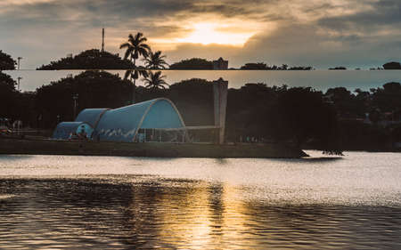 Belo Horizonte, Brazil - Dec 27, 2017: Modernist church of Sao Francisco de Assis by Oscar Niemeyer in Pampulha, Brazil - UNESCO World Heritage Site