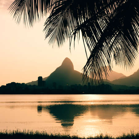 Morro Dois Irmaoes seen from Lagoa Rodrigo de Freitas at sunset in Rio de Janeiro, Brazil