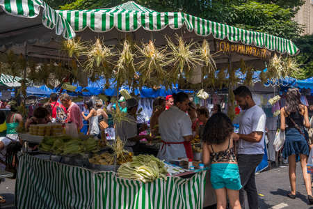 Belo Horizonte, Brazil, Dec 24, 2017: Corn and corn products for sale at Belo Horizontes weekly street market in the city centre Editorial