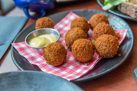 Bitterballen, a typically Dutch food croquet with mayo Stok Fotoğraf