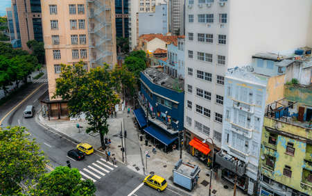 Aerial view of busy street in downtown Rio de Janeiro, Brazil, the countrys second largest city Banco de Imagens - 110653273