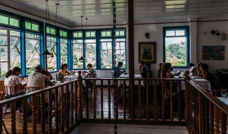 Terrace of restaurant in Ouro Preto named Bene da Flauta overlooking the iconic UNESCO World Heritage city Editorial